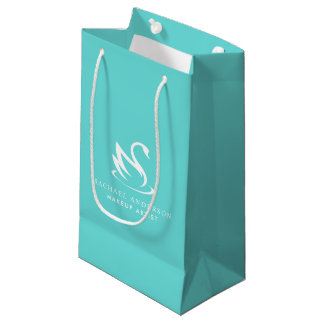 Robin Egg Blue Swan Logo with Name Small Gift Bag