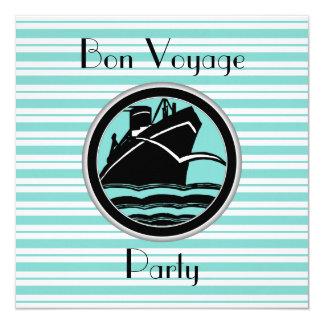 Robin Egg Blue Wht Stripe Black Ship Bon Voyage Card