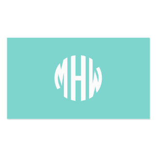 Robin Egg White 3 Initials in a Circle Monogram Business Cards
