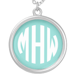 Robin Egg White 3 Initials in a Circle Monogram Custom Necklace