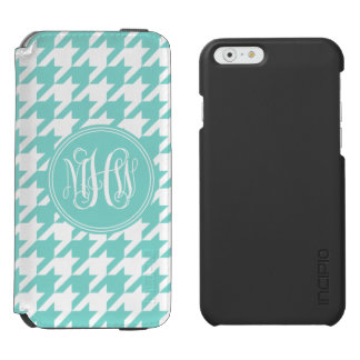 Robin Egg White Houndstooth Aqua 3I Vine Monogram Incipio Watson™ iPhone 6 Wallet Case