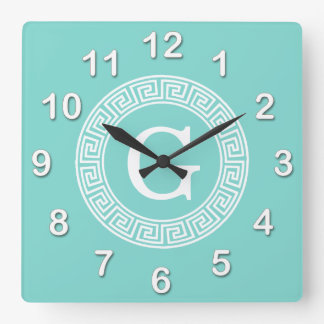 Robin Egg Wht Greek Key Rnd Frame Initial Monogram Clock