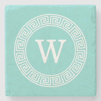 Robin Egg Wht Greek Key Rnd Frame Initial Monogram Stone Coaster
