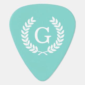 Robin Egg Wht Wheat Laurel Wreath Initial Monogram Guitar Pick