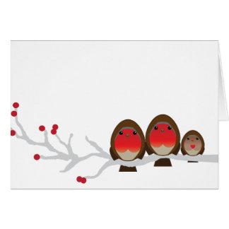 robin family of 3 CHRISTMAS greeting card baby b