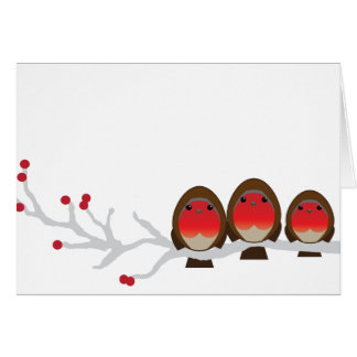 robin family of 3 CHRISTMAS greeting card bb