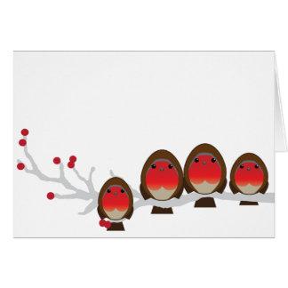 robin family of 4 CHRISTMAS greeting card bb