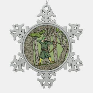 Robin Hood Pewter Snowflake Ornament