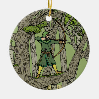 Robin Hood Round Ceramic Decoration