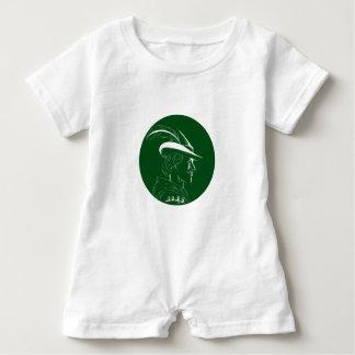 Robin Hood Side Profile Circle Woodcut Baby Bodysuit