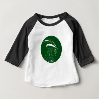 Robin Hood Side Profile Circle Woodcut Baby T-Shirt