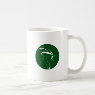 Robin Hood Side Profile Circle Woodcut Coffee Mug