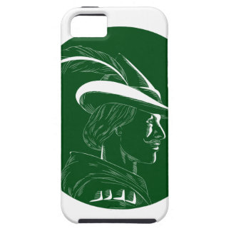 Robin Hood Side Profile Circle Woodcut iPhone 5 Cases