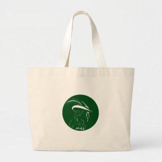 Robin Hood Side Profile Circle Woodcut Large Tote Bag