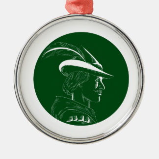Robin Hood Side Profile Circle Woodcut Metal Ornament