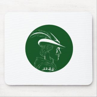 Robin Hood Side Profile Circle Woodcut Mouse Pad