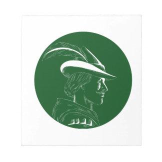 Robin Hood Side Profile Circle Woodcut Notepad