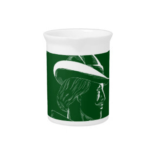 Robin Hood Side Profile Circle Woodcut Pitcher