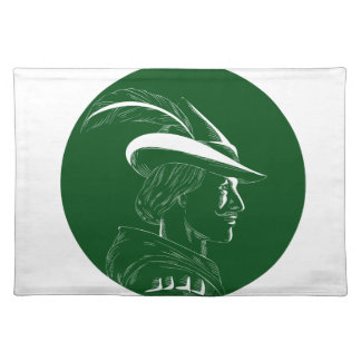 Robin Hood Side Profile Circle Woodcut Placemat