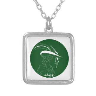 Robin Hood Side Profile Circle Woodcut Silver Plated Necklace