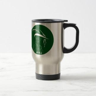 Robin Hood Side Profile Circle Woodcut Travel Mug