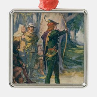 Robin Hood Silver-Colored Square Decoration