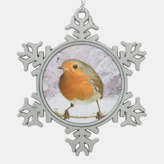 Robin image for Pewter Snowflake Ornament