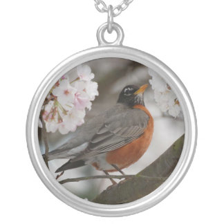 Robin in a Flower Tree Necklace