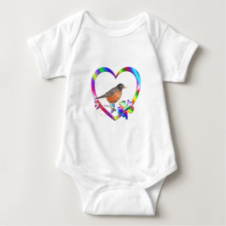 Robin in Colorful Heart Baby Bodysuit