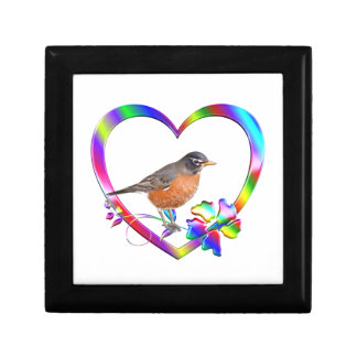 Robin in Colorful Heart Gift Box