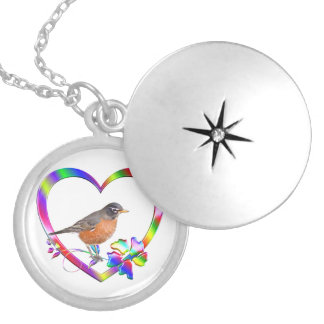 Robin in Colorful Heart Locket Necklace