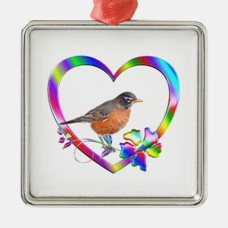 Robin in Colorful Heart Metal Ornament
