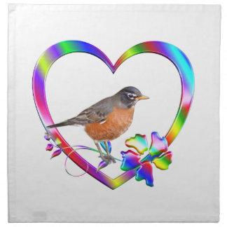 Robin in Colorful Heart Napkin