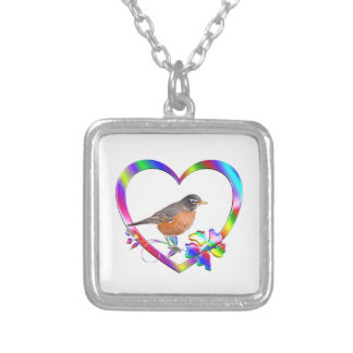 Robin in Colorful Heart Silver Plated Necklace