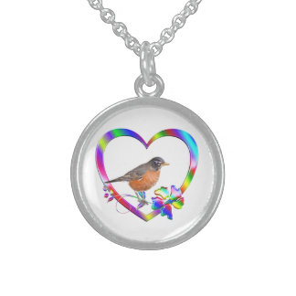 Robin in Colorful Heart Sterling Silver Necklace
