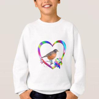 Robin in Colorful Heart Sweatshirt