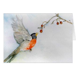 Robin in Flight Card