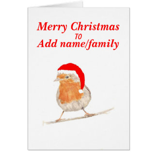 Robin in red hat Christmas Card add names front