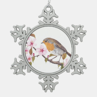 Robin in the blossom hanging decoration pewter snowflake decoration