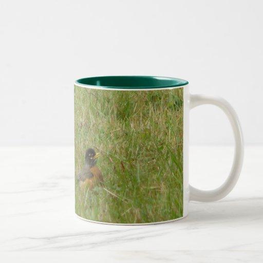 Robin in the Grass Coffee Mug