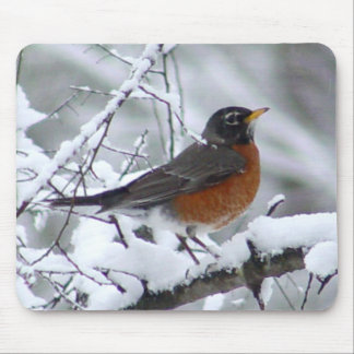 Robin in the Snow Bird Mousepad