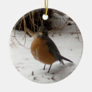 Robin in the Snow Round Ceramic Decoration