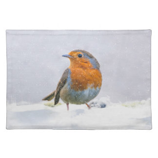 """Robin In The Winter Snow Placemats  20"""" x 14"""""""