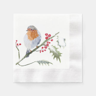 Robin in winter paper napkin