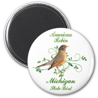 Robin Michigan State Bird 6 Cm Round Magnet