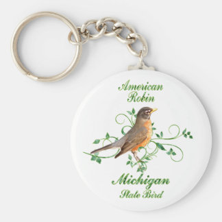 Robin Michigan State Bird Basic Round Button Key Ring