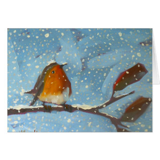 robin on branch on snowy day cards