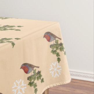 Robin on ivy leaves original seasonal art design tablecloth