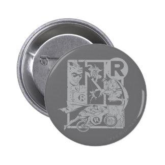 Robin - Picto Grey 6 Cm Round Badge