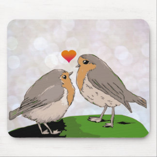 Robin red breast bird love mousepad